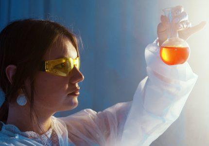 a woman doing an experiment